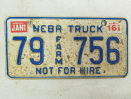 1995 Nebraska Not For Hire Farm Truck License Plate 79 756