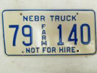 Nebraska Not For Hire Farm Truck License Plate 79 140