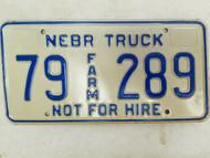 Nebraska Not For Hire Farm Truck License Plate 79 289