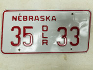Nebraska Dealer License Plate 35 33