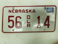 2001 Nebraska Dealer License Plate 56 14