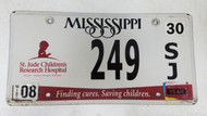 Expired Mississippi St. Jude Children's Research Hospital Finding Cures. Saving Children. License Plate 249 SJ