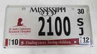 2012 Mississippi St. Jude Children's Research Hospital Finding Cures. Saving Children. License Plate 2100 SJ