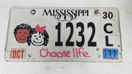 2011 Mississippi Choose Life Kids License Plate 1232 CL
