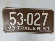 1967 Missouri Trailer License Plate 53-027