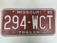 1995 Missouri Trailer License Plate 294-WCT