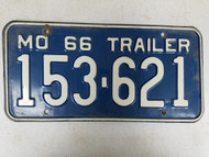 1966 Missouri Trailer License Plate 153-621
