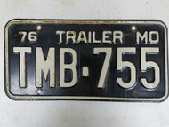 1976 Missouri Trailer License Plate TMB-755