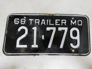 1968 Missouri Trailer License Plate 21-779