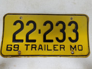 1969 Missouri Trailer License Plate 22-233