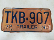 1972 Missouri Trailer License Plate TKB-907