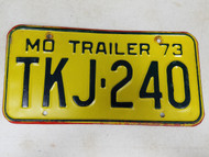1973 Missouri Trailer License Plate TKJ-240