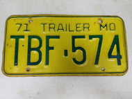 1971 Missouri Trailer License Plate TBF-574