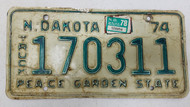 1974 North Dakota Peace Garden State Truck License Plate 170311