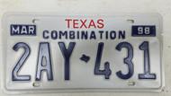 1998 TEXAS Combination License Plate 2AY-431