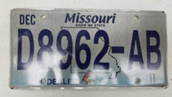 2011 MISSOURI Show Me State Dealer License Plate D8962-AB Blue Bird
