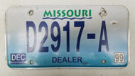 1999 MISSOURI Dealer License Plate D2917-A