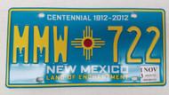 2013 NEW MEXICO Land of Enchantment Centennial 1912-2012 License Plate MMW-722 Zia Sun