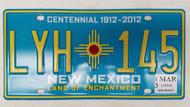 2013 NEW MEXICO Land of Enchantment Centennial 1912-2012 License Plate LYH-145 Zia Sun