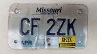 2015 MISSOURI Show Me State Bluebird Motorcycle License Plate CF-2ZK