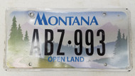 Expired Montana Open Land License Plate ABZ-993 Trees Nature