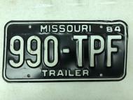 1984 MISSOURI Trailer License Plate 990-TPF