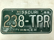 1985 MISSOURI Trailer License Plate 238-TPR