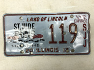 2012 ILLINOIS Land of Lincoln St. Jude Runs 7-17-12 License Plate 119-SJJ Footprints Shoeprints