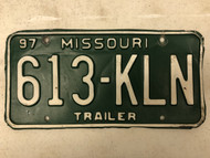 1997 MISSOURI Trailer License Plate 613-KLN