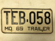 1965 MISSOURI Trailer License Plate TEB-058