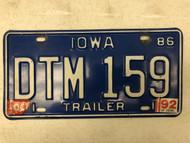 1986 (1992 Tag) IOWA Trailer License Plate DTM-159
