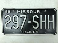 1999 MISSOURI Trailer License Plate 297-SHH Shh Quiet