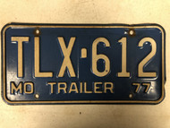 1977 MISSOURI Trailer License Plate TLX-612