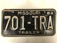 1984 MISSOURI Trailer License Plate 701-TRA