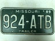 1989 MISSOURI Trailer License Plate 924-ATB