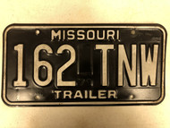 1979 MISSOURI Trailer License Plate 162-TNW