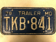 1978 MISSOURI Trailer License Plate TKB-841