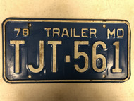 1978 MISSOURI Trailer License Plate TJT-561