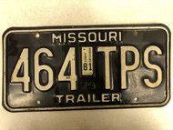 1979 (1981 Tag) MISSOURI Trailer License Plate 464-TPS