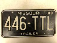 1988 MISSOURI Trailer License Plate 446-TTL
