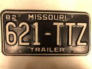 1982 MISSOURI Trailer License Plate 621-TTZ