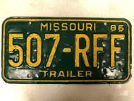 1986 MISSOURI Trailer License Plate 507-RFF