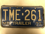 1977 MISSOURI Trailer License Plate TME-261