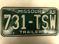 1985 MISSOURI Trailer License Plate 731-TSW
