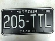 1988 MISSOURI Trailer License Plate 205-TTL