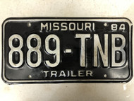 1984 MISSOURI Trailer License Plate 889-TNB