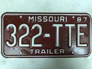 1987 MISSOURI Trailer License Plate 322-TTE