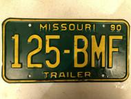 1990 MISSOURI Trailer License Plate 125-BMF