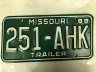 1989 MISSOURI Trailer License Plate 251-AHK