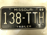 1988 MISSOURI Trailer License Plate 138-TTH